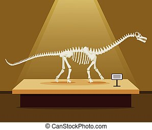 Titanosaur bones skeleton in museum exhibition. Vector flat...