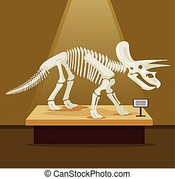 Triceratops bones skeleton in museum exhibition Vector flat...