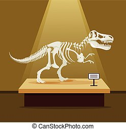 Tyrannosaur Rex bones skeleton in museum exhibition Vector...