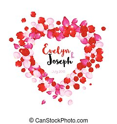Rose petals heart Beautiful wedding invitation vector illustration
