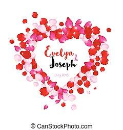 Rose petals heart Beautiful wedding invitation vector illustration