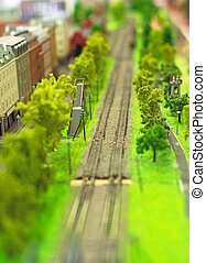 City in miniature Railroad near houses