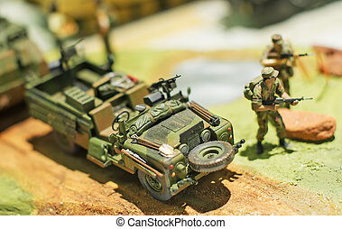 World in miniature. Military car model.