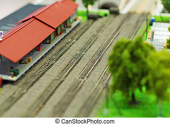 City in miniature Empty railroad station