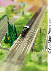 City in miniature Miniature model of train with wagons