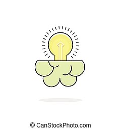 Light bulb brain icon isolated on white, idea concept