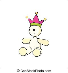 Wild Card - Cartoon style wild card mascot with crown vector...