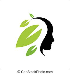 Indian Head - Indian head silhouette with hair like leaves...