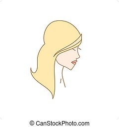 Lady - Beautiful line drawing lady with long hair silhouette...