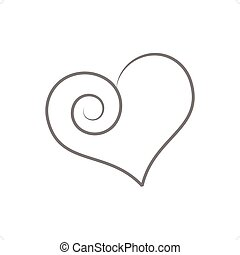 Weird Heart - Beautiful stylized line drawing weird heart...