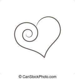 Weird Heart - Beautiful stylized line drawing weird heart...