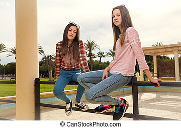 two young girls in park