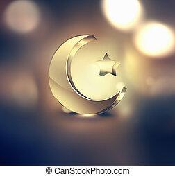 Ramadan Kareem design - Golden Islamic crescent and star on...