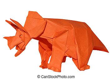 Origamy, Dinosaurio, Triceratops,