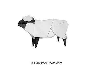Origami Sheep isolated on white - Origami traditional...