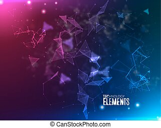 Abstract polygonal techno background. Futuristic style card. Business presentations. Lines, point, planes in 3d space. Cybernetic dots, creative banner.