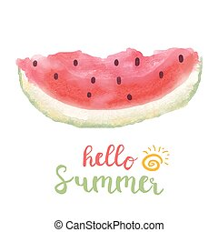 Hello summer lettering typography with watercolor watermelon