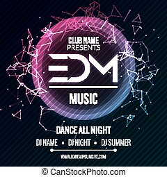EDM Club Music Party Template, Dance Party Flyer, brochure. Night Party Club sound Banner Poster.