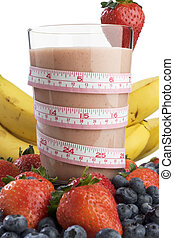 Smoothie for slimness - Smoothie surrounded by fruit and...