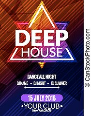 Club electronic deep house music poster. Musical event DJ...