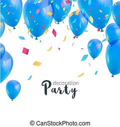 Vector happy birthday card with colorful balloons and confetti, party invitation.