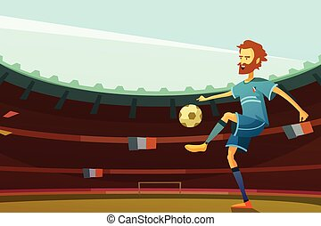 Euro 2016 background - Football player with ball on stadium...
