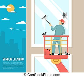 Window Washer At Work Flat Illustration - Professional...