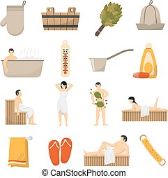 Bath Sauna Spa Flat Icons Set - Bath sauna and spa resort...