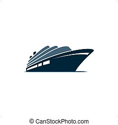 Cruise Ship - Blue cruise ship on blue ocean on the white...