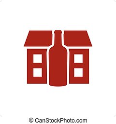 Distillery - Red distillery house with the red bottle vector...