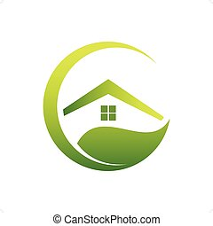 Eco House - Green home icon eco house on white background.