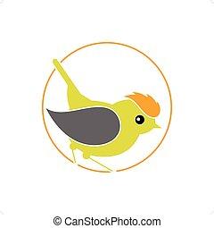 Firecrest Bird - Stylized Bird - Firecrest, Goldcrest, Wren...