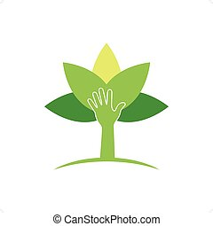 Crop Cultivation - Plant protection creative symbol concept....