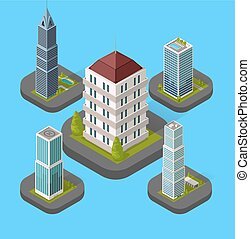 Isometric Building Set Isolated