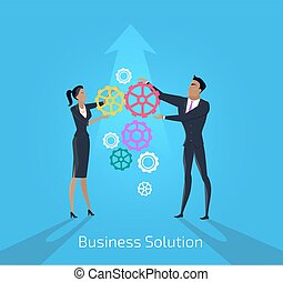 Business solution. Man and woman