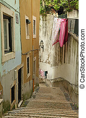 beautiful typical street of old Alfama - Alfama -old...