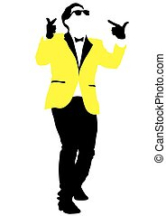 Man in yellow jacket - Dancing man in jacket on a white...