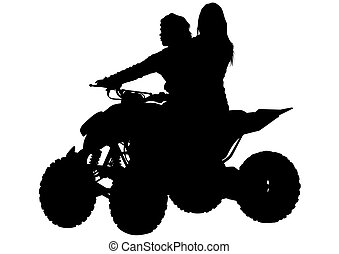 Woman on quad - Silhouettes athletes ATV during races on...