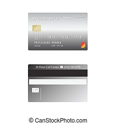 detailed credit card isolated on white background, Vector illustration