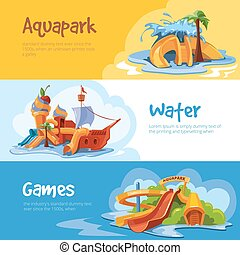 Waterslides in an aquapark - Set of Waterslide in an...
