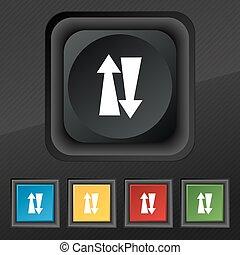 dois, maneira, tráfego, ícone, Símbolo, jogo, de, cinco,...