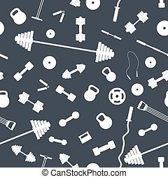 Seamless background from items of sports equipment, vector...