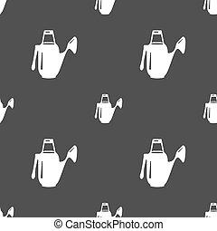Watering can icon sign. Seamless pattern on a gray background. Vector