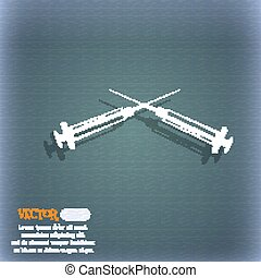 Syringes icon. On the blue-green abstract background with shadow and space for your text. Vector