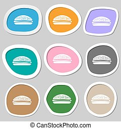 Burger, hamburger symbols. Multicolored paper stickers....