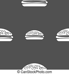 Burger, hamburger icon sign. Seamless pattern on a gray...