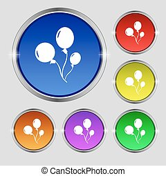 Balloons icon sign. Round symbol on bright colourful...