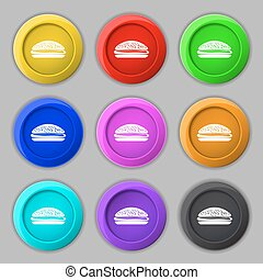 Burger, hamburger icon sign. symbol on nine round colourful...