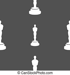 Oscar statuette icon sign. Seamless pattern on a gray...