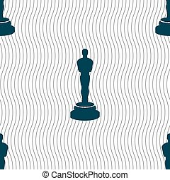 Oscar statuette icon sign. Seamless pattern with geometric...